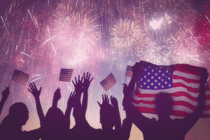 fireworks with the silhouette of hands and American flags in Lambertville, MI